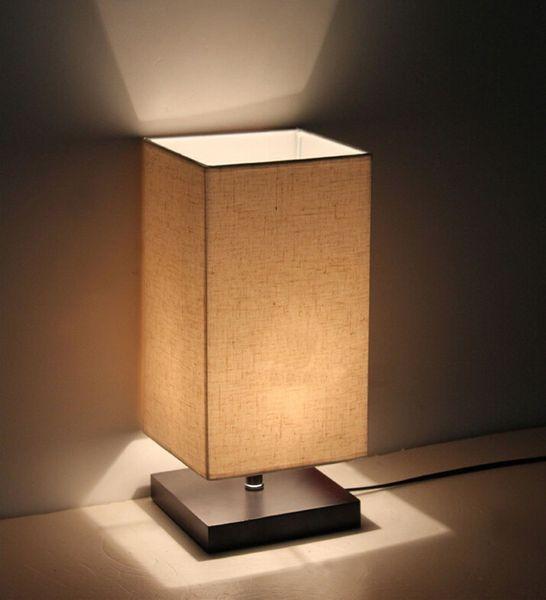 Lampade Per Interni.Acquista Illuminazione Da Interni Lampada Da Tavolo Minimalista In Legno Da Scrivania Lampada Da Salotto Con Paralume In Tessuto Lampada Da Comodino