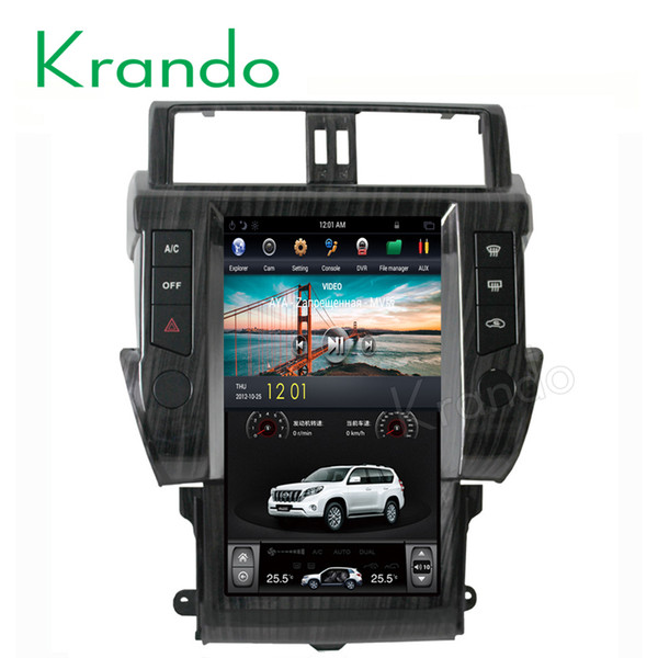 "Krando Android 6.0 13.6"" style Vertical screen car dvd radio player with gps for Toyota Prado 2014+ navigation multimedia system"