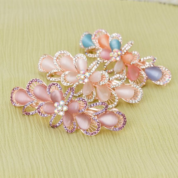 2018 Promotion lady barrettes girl hair clip spring clips Flower Rhinestone colorful crystal barrette for ladies 6 colors free shipping