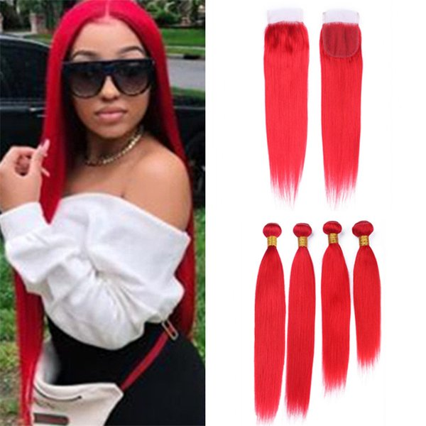 Brazilian Red Straight Human Hair 4 Bundles Deals with Lace Closure 5Pcs Lot Bright Red Virgin Hair Weaves Wefts and Closure