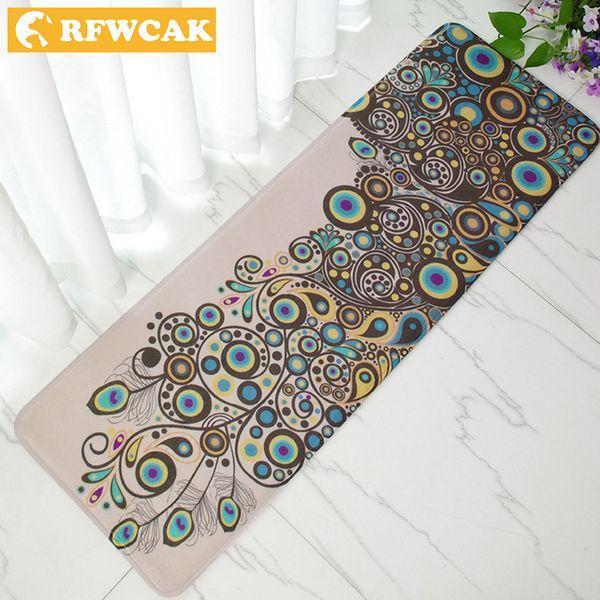 RFWCAK 40*120cm Bedside Sofa Coffee Table Long Peacock Door Mat Carpet Kitchen Oil Absorption Dirt Floor Mat Free Shipping