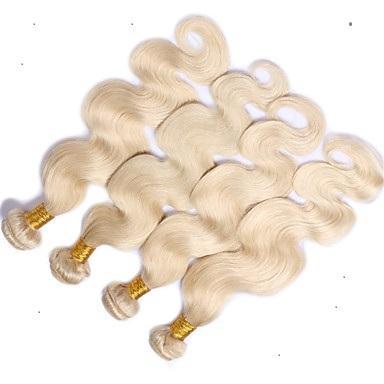 Yeni ürünler piyasada # 60 Platin Sarışın Renk Vücut Dalga Saç Uzantıları% 100% İnsan Saç Dokuma 10-30 İnç Bakire Saç Ürünleri