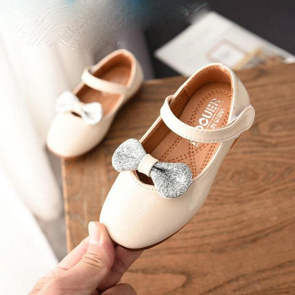 New Children PU Leather Shoes Baby Girls Bow Princess Wedding Flats Sneakers Kids School Dress Single Shoes