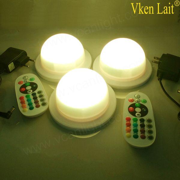 50 Unids / lote LED Iluminación de Muebles Batería Recargable Led Bombilla RGB Control Remoto Impermeable IP65 Luces de la Piscina