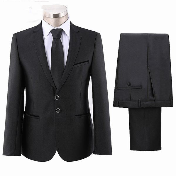 Black Men Suits Wedding Custom Made Formal Two Button Man's Suit Groom Tuxedos Bridegroom Slim Fit Men Blazer Suit 2 Piece Jacket+Pants