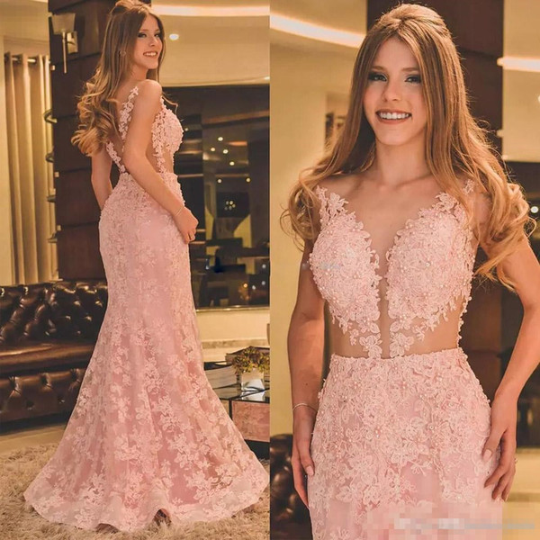 Blush Pink Lace Illusion fulll Evening Dresses 2018 Lace Appliques Beads Mermaid Cutside Fishtail Princess Occasion Prom Party Dress