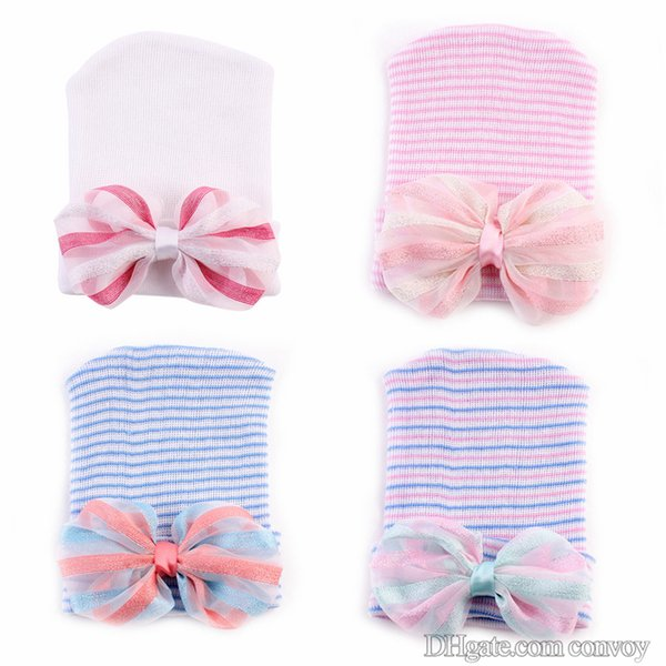 """0-6M Newest Newborn Baby Crochet Hats with Big Bow Cute Baby Girl Lace Chiffon Knitting Stripe Hedging Caps Cotton 4"""" Bow Beanie BH59"""