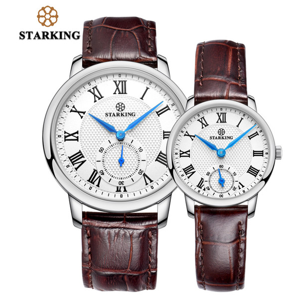 STARKING Watch Genuine Leather Brown Strap Quartz Wrist Watch for Lovers Gifts Super Slim Couple Watches Set Hodinky Pair 3ATM