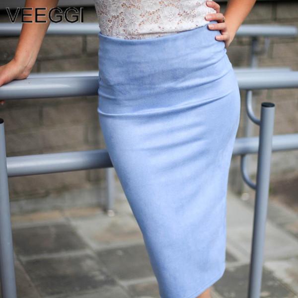 VEEGGI Mulheres Moda Camurça 14 Cores Lápis Midi Saias De Cintura Alta Nova Chegada Outono Inverno Básico Tubo Bodycon Envoltório saias