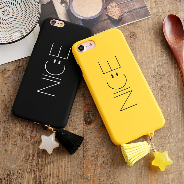 Smile Nice Face Matte Ultrathin Hard PC Plastic Cute Back Case for iPhone 6 6s 7 8 Plus Candy Color Cartoon Lovers Star Tassel Cover Skin
