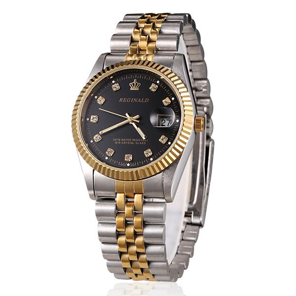 Reloj para hombre Vestido estilo Reloj de negocios Pulsera de acero Hombres dorados Reloj de cuarzo Día de San Valentín, regalo para hombre