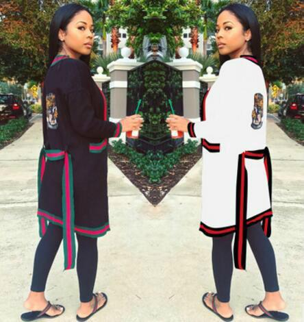 2017 Novo Favorito Mulheres Cardigan Casaco Com Cinto Moda Stripes Impressão Outwear Casaco Solto Blusa Casual Do Vintage 2 Cores