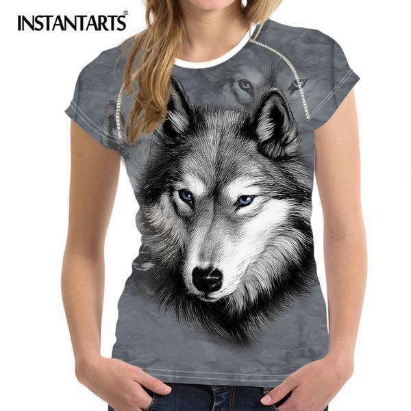 INSTANTARTS Summer Sport Women T Shirt 3D Animal Wolf Printing Quick Dry Running Tee Shirt Short Sleeve Yoga Gym Fitness Tshirt