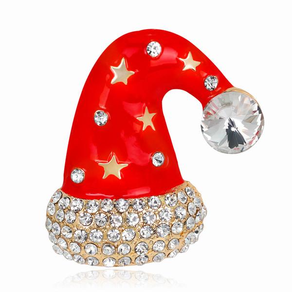 Junge Tulpe 2018 Weihnachten Hut Pins Emaille Kristall Brosche Modeschmuck für Frauen und Mann Kleid Anzug Gutes Geschenk Hohe Qualität