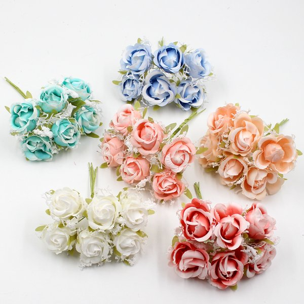White Lace high quality Silk Rose Bouquet Artificial Flowers Wedding Decoration DIY Garland Scrapbook Gift Box Craft