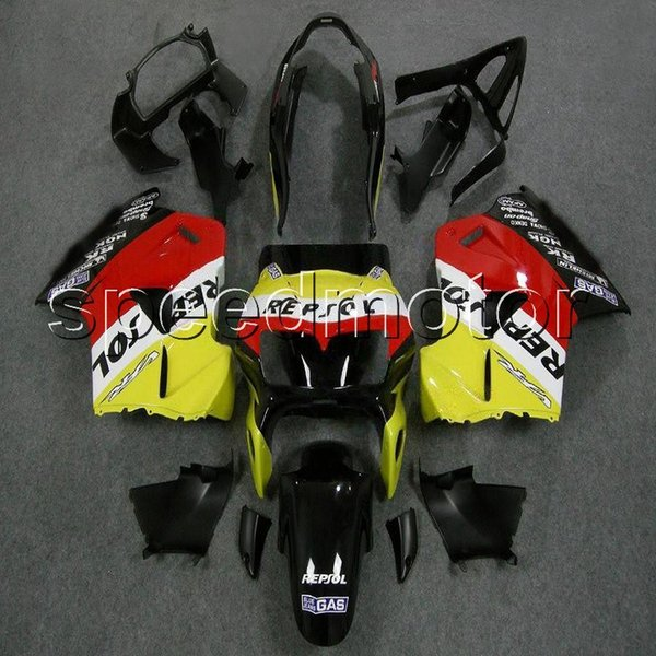 colors+Gifts repsol yellow 98-01 VFR 800 motorcycle cowl Fairing for HONDA VFR800 1998 1999 2000 2001 ABS plastic kit