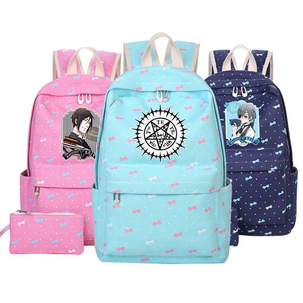 Anime Black Butler Shoulders Bag Students School Bag Ciel Phantomhive Sebastian Michaelis Cosplay Backpack Cartoon Adult girlBag