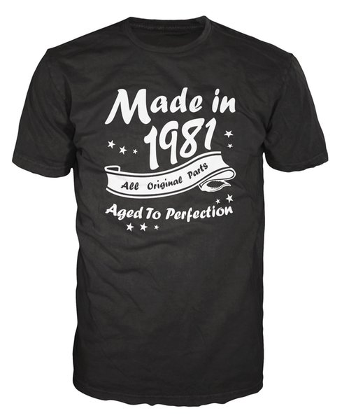 Made In 1981 All Original Parts Funny Birthday Anniversary Party T-Shirt T Shirt Men's Homme Harajuku Custom Short Sleeve 3XL Family T-Shirt