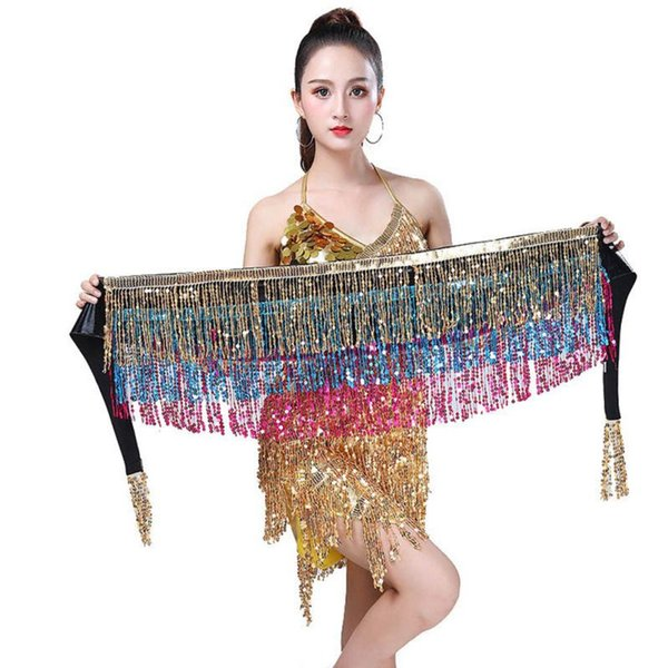 New Women's Belly Dance Hip Scarf Performance Outfits Skirt Festival Clothing Tassels Fringes Hip Scarf F3