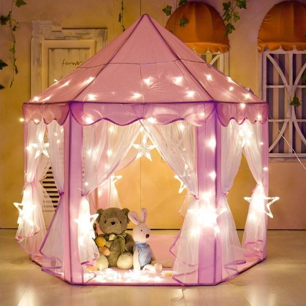 Girl Princess Pink Castle Tents Portable Children Outdoor Garden Folding Play Tent Lodge Kids Balls Pool Playhouse