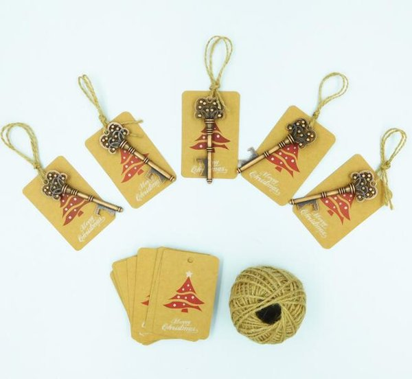 Christmas Tree Decorations Key Shape Bottle Opener with Kraft Blank Paper Tags Creative Xmas Gift Decoration