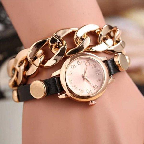 Fashion Women Watch Gold Dial Leather Bracelet Watch Casual Women Wristwatch Luxury Quartz Clock Gift #C
