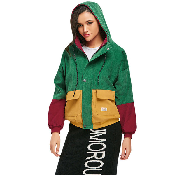 Winter Warm Color Block Hooded Corduroy Jacket Drawstring Hit Color Patched Denim Pocket Thick Basic Short Women Coat Harajuku New