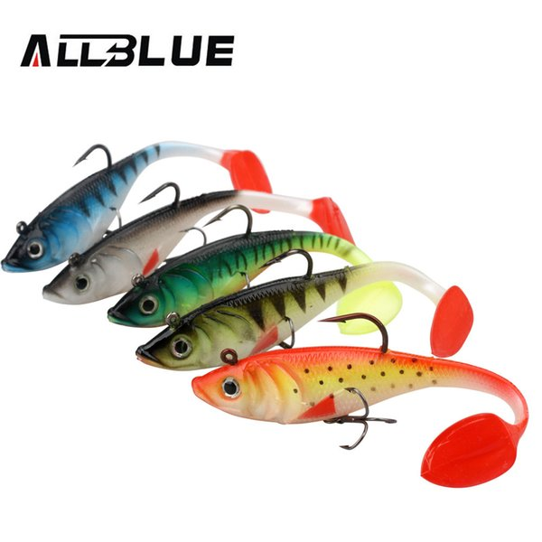 ALLBLUE 2pcs/lot 3D Eyes Swim Bait Live Bass 13.5cm Soft Rubber Sea Fishing Lures With T Tail Artificial Bait Jig Wobblers Shad Y18100906
