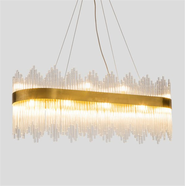 Modern Crystal glass rod LED Pendant Lamp stainless steel Pendant Light living room bedroom hotel Art villa Suspension G803
