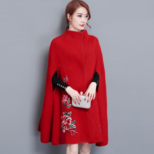 New Vintage Women Miscele di lana Cappotto lungo Bat National Wind Cloak Cappotti Capispalla Red Black 5839