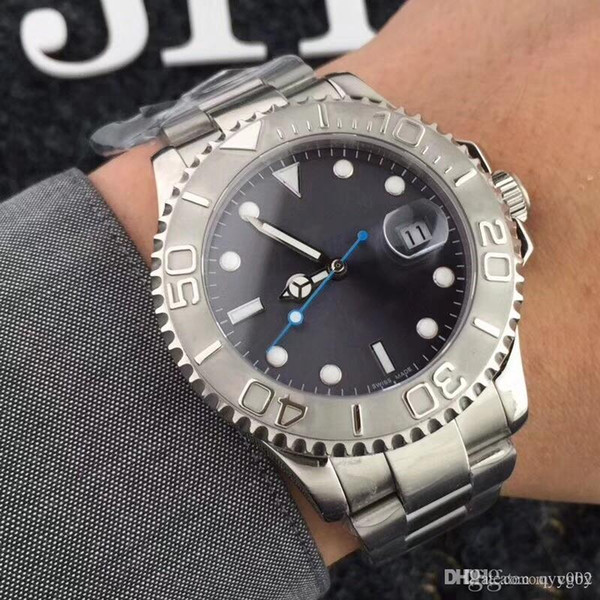 2018aAAAAA A- Christmas gift automatic top luxury waterproof watch stainless steel black and blue dial men's mechanical watch.