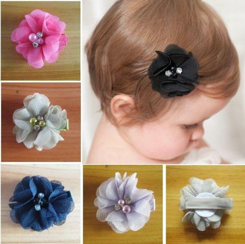 14 color Chiffon Cloth Flowers Fabric Glass Rhinestone With Alligator Clips Baby Boutique Hairpins Girl Barrettes Christmas Hair Accessories