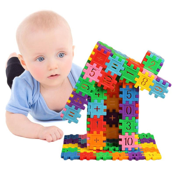best selling 80pcs set Plastic Building Blocks Montessori Baby Toys Children Kids Digital Geometric Shape Funny Educational Toy Gifts