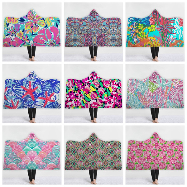 Lilly Hoodie Blanket Personalized Sherpa Fleece Blankets Warm Wearable Blanket Winter Cape Kids Christmas Gift 37 Designs 10pcs YW1621