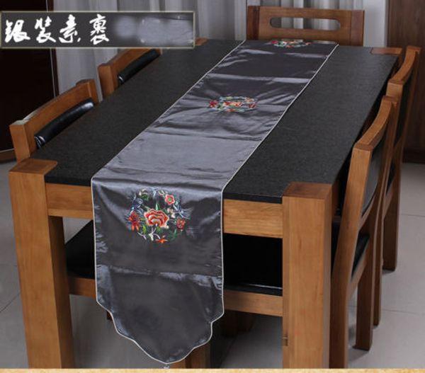 200 * 33 см Благородный Китайский Старинный Вышитый Шелк Красивый серый Таблица Runner Ткань Кровать Флаг