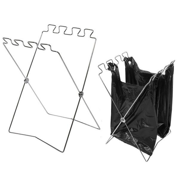 Support de sac à ordures pliant Pratique en acier inoxydable sacs support de stockage Rack robuste anti-usure de la poche facile à transporter 18gt B