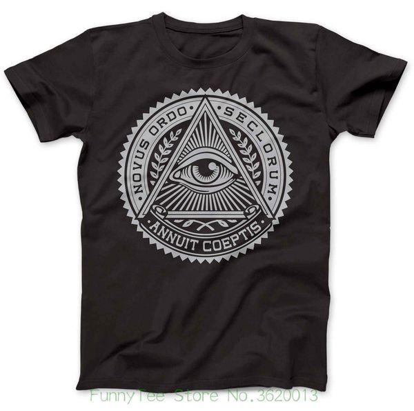 Tee shirt Illuminati Oog Symbool 100% Premium Katoen Annuit Coeptis Katholieke