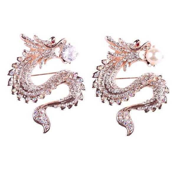 Rhinestone / simulado Perla China Dragón Broches Cristal traje de hombre Pin Aleación de zinc Animal Broche Pin Joyería de la mujer