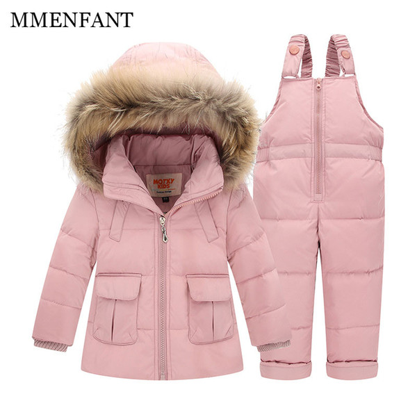 2pc Children clothes Winter Down Jacket Baby Warm Outerwear Coats Girls Set Coat Kids Ski Suit Jumpsuit For Boys Baby Overalls