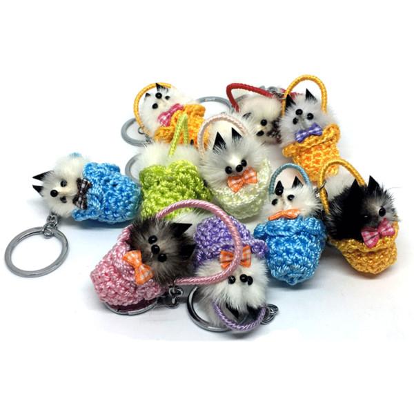 Free DHL Little Fox Fur Grass Basket Key Ring Pendant Animal Model Car Keychain Plush Toy Key Chain Accessories Children'S Toys Gifts G558R