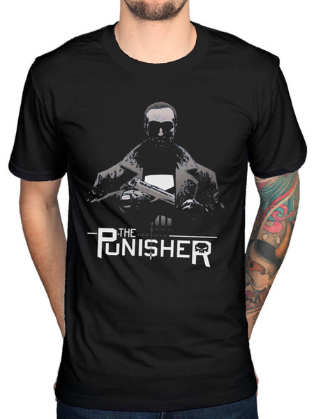 Official Marvel The Punisher Knight T-Shirt Captain American Comic Book Batman Tee Shirts Hipster O-Neck Men Lastest