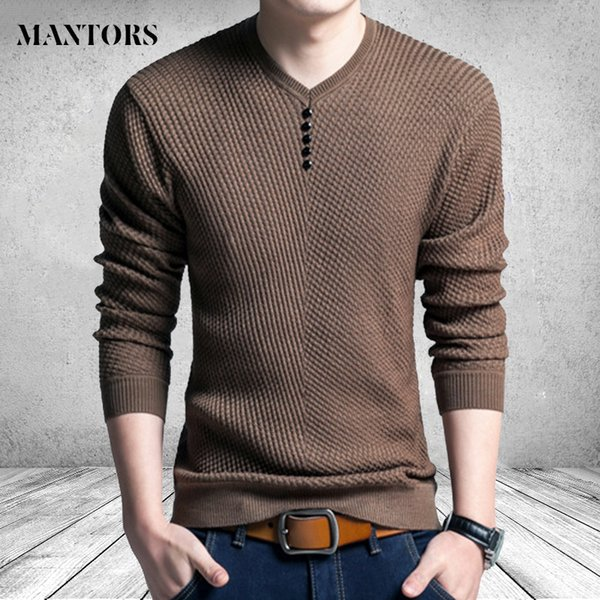 Long Sleeve Knitted Sweater Men Autumn Winter Casual Slim Fit christmas Knitwear Mens Clothes V Neck Pullover Male sueter hombre