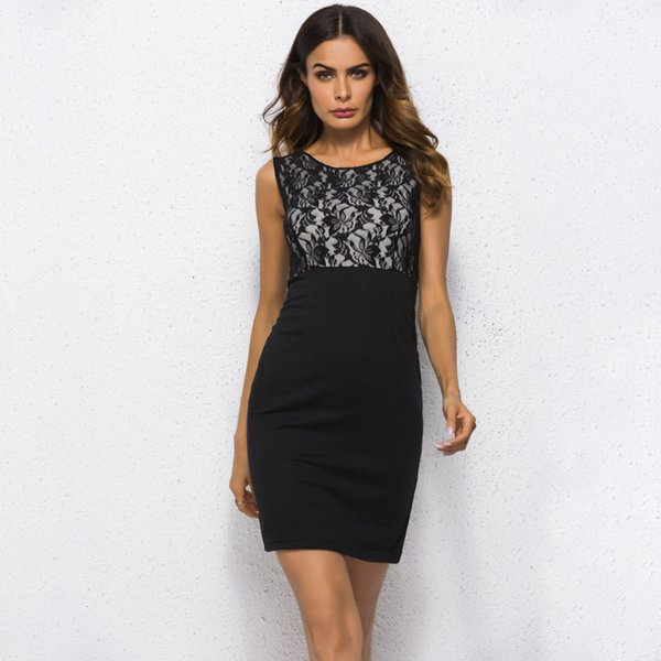 Women Dress Black Lace Bodycon Elegant Office Lady Women Dress Mini Evening Party Sleeveless Summer New Vestidos