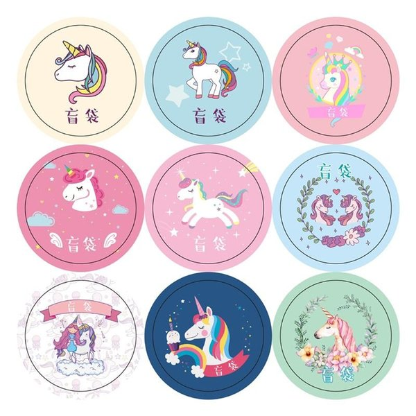 Cartoon Unicorn Tema Pasters Round Candy Bag Packaging Sticker Moda Bella Gift Box adesivi Factory Direct 0 45yx BB