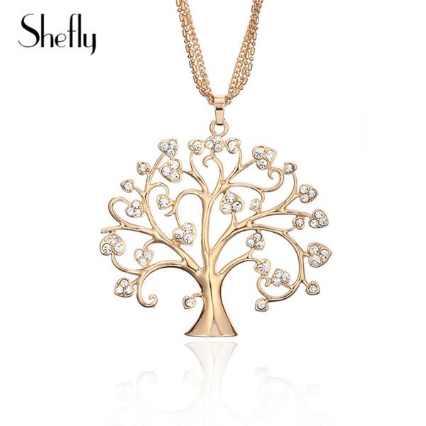 2018 Hot Baum Des Lebens Kristall Anhänger Halskette Hohe Qualität Zink-legierung Kubikzauber Halskette Für Frauen Anhänger Bijoux Collier