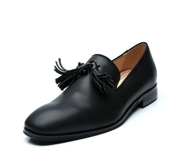 2018 Новый высокое качество мужской кисточкой оксфорды мужчины платье обувь низкий топ мокасины партия обувь мужчины бахрома обувь черный кожаный мокасины