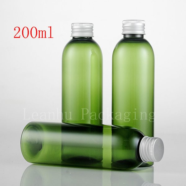 200ml X 30 Empty Green Plastic Bottles Aluminum Screw Caps , Liquid Soap Cosmetic Container , Shampoo Container ,Shampoo Tin