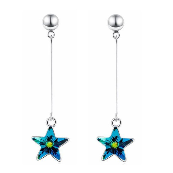 Long Drop Earrings Jewelry For Women Crystal from Swarovski Elements Star Dangle Earring Fashion Accessories 28920