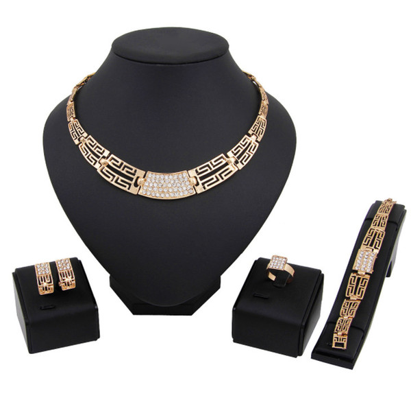 Fashion African Jewelry sets Dubai gold color Crystal Jewelry sets Wholesale Bridal Accessories nigerian Wedding Jewelry