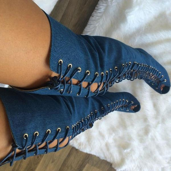 Women Fashion Sexy Denim Lace Up Open Toe Thigh High Boots Lady Casual Over The Knee Cool Boots